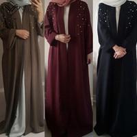 Wechery Jilbab Islam Abayas for Women Pearls Decorated Long Dresses Loose Casual abaya dubai Middle East Clothing