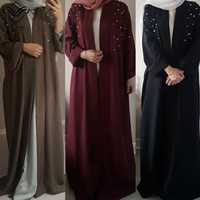 Wechery Jilbab Islam Abayas for Women Pearls Decorated Long Dresses Loose Casual abaya dubai Middle East Clothing