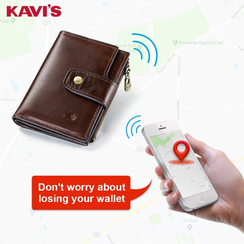 KAVIS Smart Wallet rfid Genuine Leather with alarm GPS Map  Bluetooth Alarm Men Purse High Quality Brand Design Wallets Walet|Wallets| |  - title=