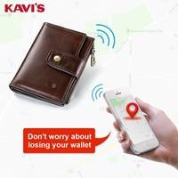 KAVIS Smart Wallet rfid Genuine Leather with alarm GPS Map, Bluetooth Alarm Men Purse High Quality Brand Design Wallets Walet