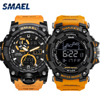 Military Watch Set relógio masculino Waterproof 50M Stop Watch Orange Bracelet Sets 1802 1545C Watches men Luxury Brand LED