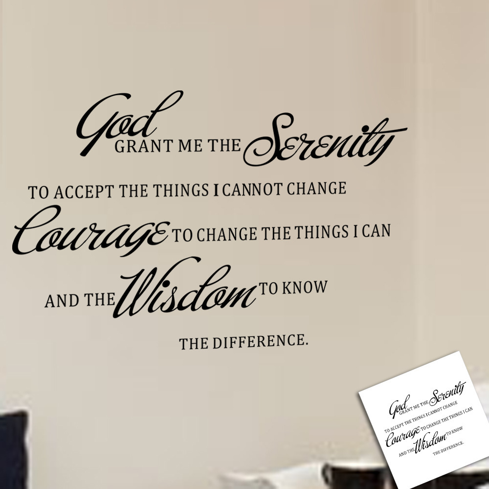 Grant Me The Serenity Prayer Art Quote Vinyl Wall Stickers Decal Home Decor Room Mural Decoration In From Garden On