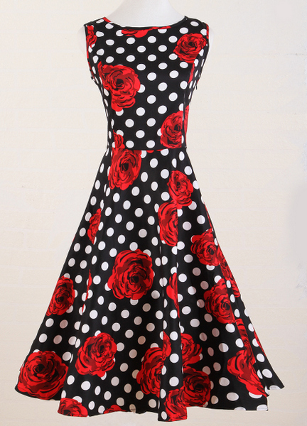 black white polkadot red roses print dresses UK style  retro flare vintage dress pin-up rock n roll swing clothing vestidos
