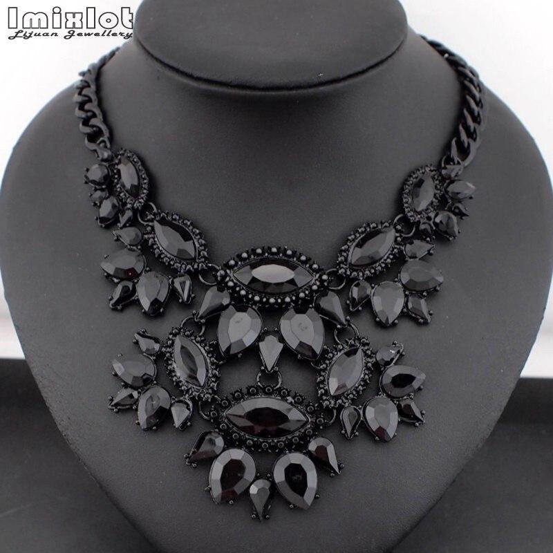 2017 moda Nueva joyería exagerada collar negro cristal flores fiesta gran marca gargantilla collar oferta