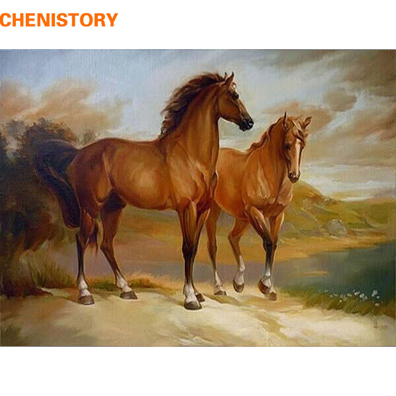 Aliexpress Com Buy Chenistory Animal Horse Diy Painting
