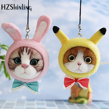 Caroon Kitty Cat Head Bow Doll Wool Felt Craft DIY Non Finished Poked Set Handcraft Kit for Needle Material Bag Pack трикотажная блуза caroon page href