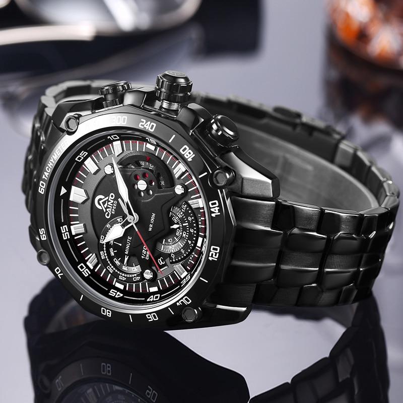 CAINO New Fashion Sports Watches Men Stainless Steel Business Casual 100M Waterproof Quartz Wrist Watch Clock Relogio Masculino new design fashion mens stainless steel band square business quartz analog wrist watches 5v8u 3y3fd