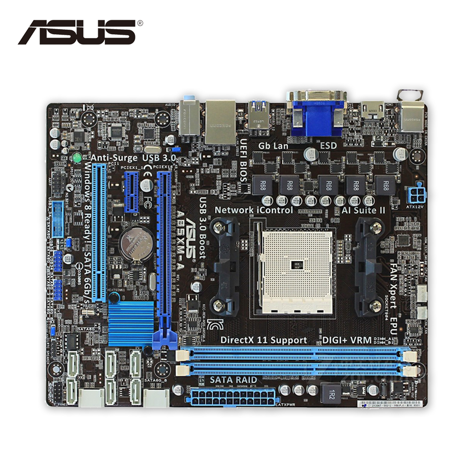 Asus A85XM-A Desktop Motherboard A85X  Socket FM2 DDR3 32G SATA3 USB3.0 Micro ATX Second-hand High Quality asus maximus vii ranger desktop motherboard m7r z97 socket lga 1150 i7 i5 i3 ddr3 32g sata3 atx second hand high quality