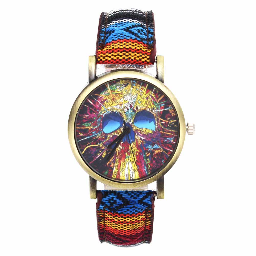 Fashion Head Head Devil Flower Skeleton Dial Watches Casual Men Women - Әйелдер сағаттары - фото 4