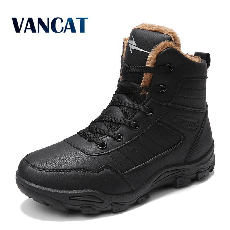 Vancat Men Boots Winter With Fur 2018 Warm Snow Boots Men Winter Boots Work Shoes Men Footwear Fashion Rubber Ankle Boots 39-46 men boots winter with fur 2018 warm snow boots men winter boots work shoes men footwear fashion rubber ankle shoes 39 46 hy5