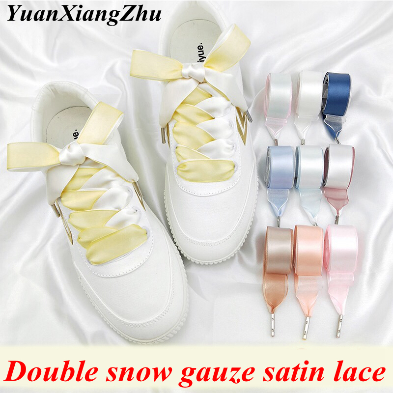 1Pair 2CM Width 80/100/120cm Double-faced Snow Yarn Satin Silk Ribbon Shoelaces Lace Shoe Lace Fashion Sneakers Shoe Laces