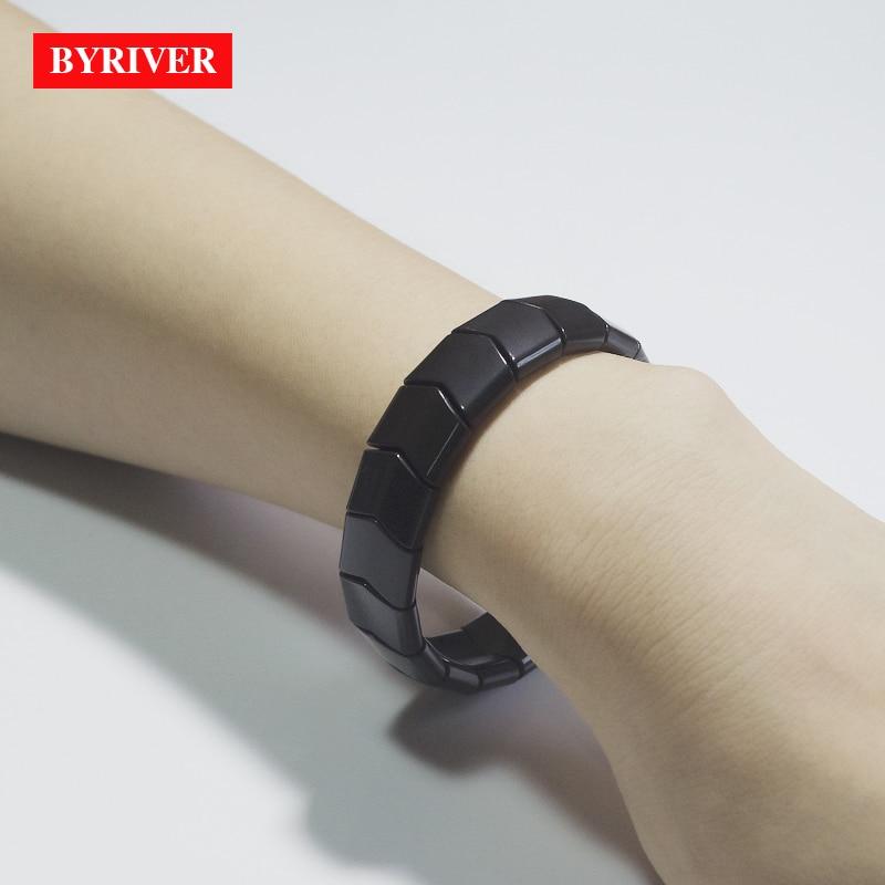 BYRIVER Real negro turmalina salud pulsera hecha por germanio Natural piedra para hombres mujeres energía de iones negativos mano cadena