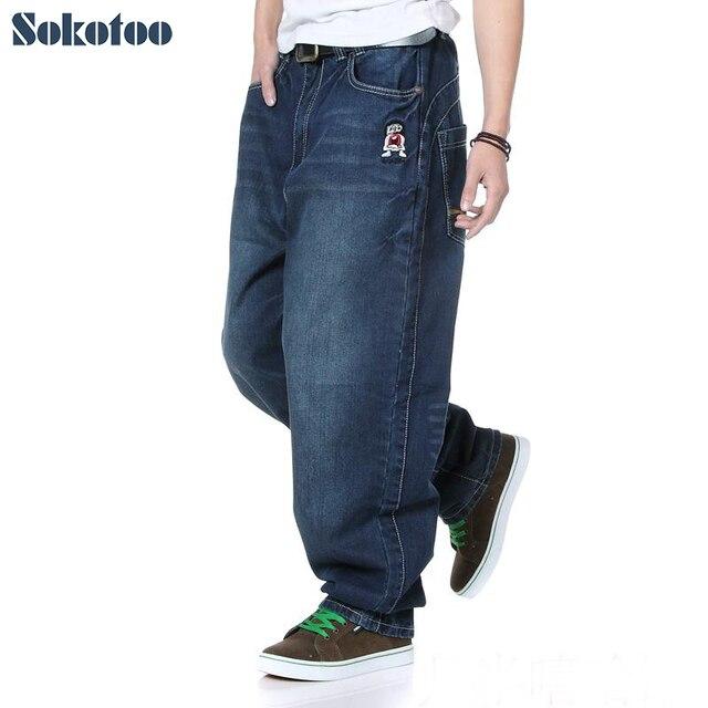 d9037d32b9 Pantalones vaqueros Sokotoo Hip hop holgados para hombre Pantalones vaqueros  talla extra grande para hombre moda