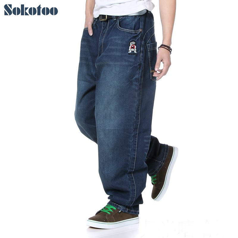 Sokotoo Hip hop   jeans   loose men's extra plus size denim pants for man fashion cool cartoon street long trousers