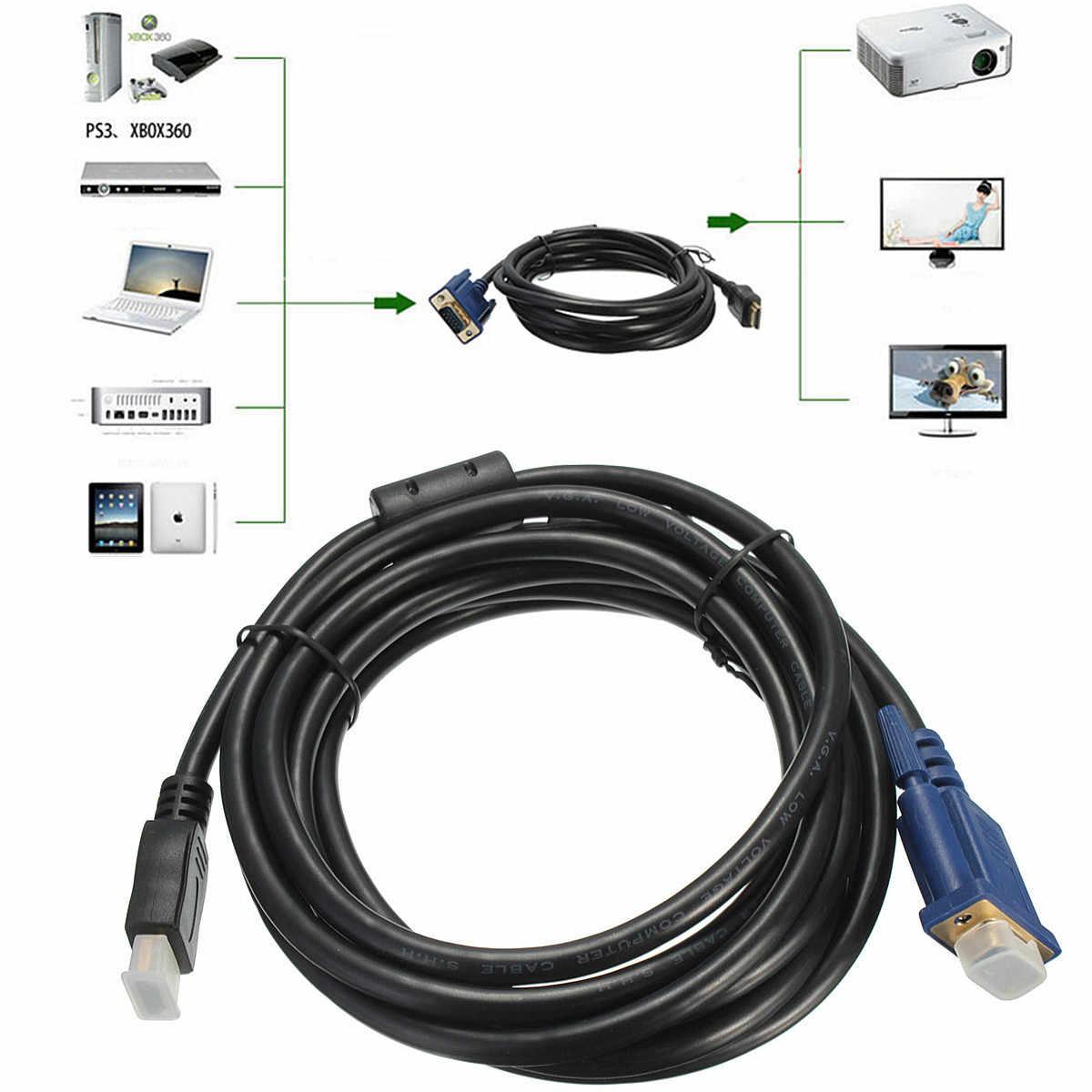 3 متر HDMI ذكر إلى VGA ذكر 15 دبوس مهائي كابلات محول مطلية بالذهب للكمبيوتر DVD الرقمية إلى التناظرية الفيديو الصوت للتلفزيون
