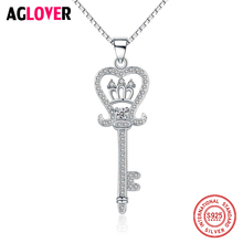 100% 925 Sterling Silver Wedding Love Heart Key Shiny Crystal Ladies Pendant Necklace Female Box Short Chain Jewelry Gift