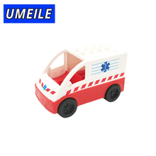 UMEILE Brand Original Classic City Ambulance Model Block Kids Toys  Vehicle Boy Girl Juguetes Compatible with Duplo