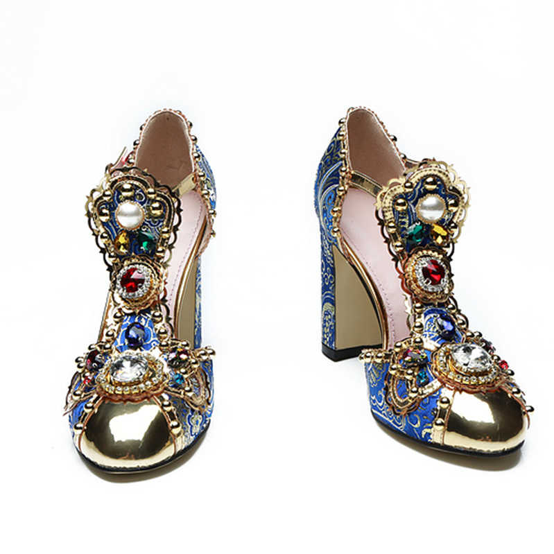 Eunice Choo Blue Floral Embroidery Luxury Crystal Rhinestone T Strap Women  Sandals Round Toe Buckle Strap 8989cefa731c