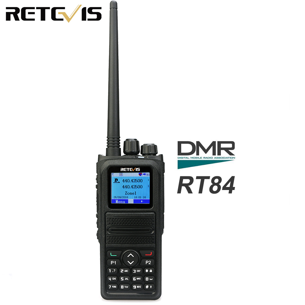 Retevis RT84 Dual Band Radio DMR Digital/Analog Walkie Talkie 5W Ham Amateur Radio Transceiver with Programming CableRetevis RT84 Dual Band Radio DMR Digital/Analog Walkie Talkie 5W Ham Amateur Radio Transceiver with Programming Cable
