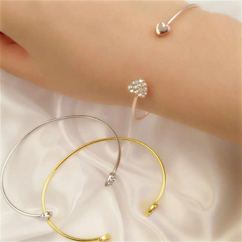 Hot Sale Fashion Adjustable Crystal Double Heart Bow Charm Open Bracelet For Women Jewelry Gift