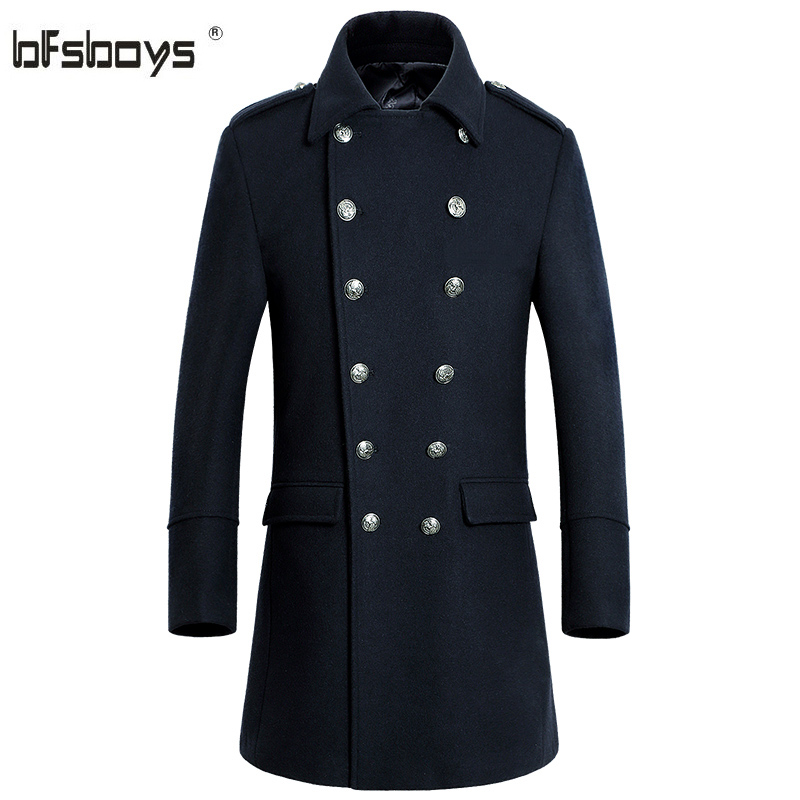 2017 Autumn and winter business and leisure double-breasted middle-aged male wool long trench coat 1809