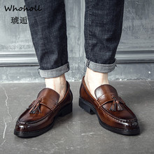 Whoholl Brand 2019 Men Dress Shoes Handmade Brogue Style Paty Leather Wedding Flats Oxfords Formal 38-44