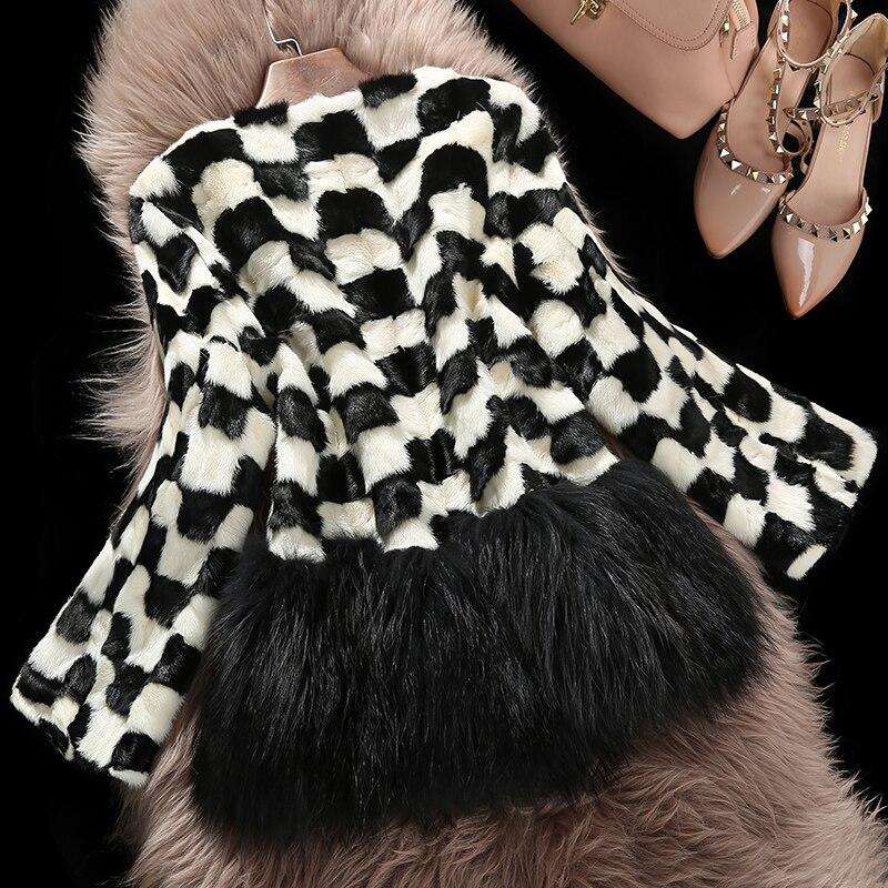 Naturel Veste Mode 2016 Réel Haute Fourrure Manteau Nouveaux xxxl De Qualité M Velours Vison Hiver Patchwork v1q0wv7