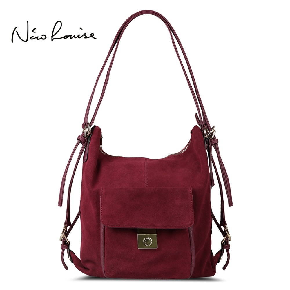 Nico Louise Women <font><b>Real</b></font> Split Suede Leather Shoulder Bag,Fashion Female Leisure Nubuck Casual Handbag Large Hobo Travelling Bags