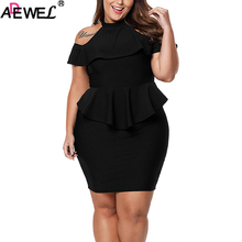 купить ADEWEL Women's Summer Dresses Rosy Black Cold Shoulder Peplum Bodycon Dress Plus Size Dresses Ladies Midi Party Formal Dresses дешево