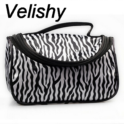 Velishy Portable 1PC Professional For Women Zebra Travel Wash Storage Toiletry Pouch Cosmetic Case Makeup Bag