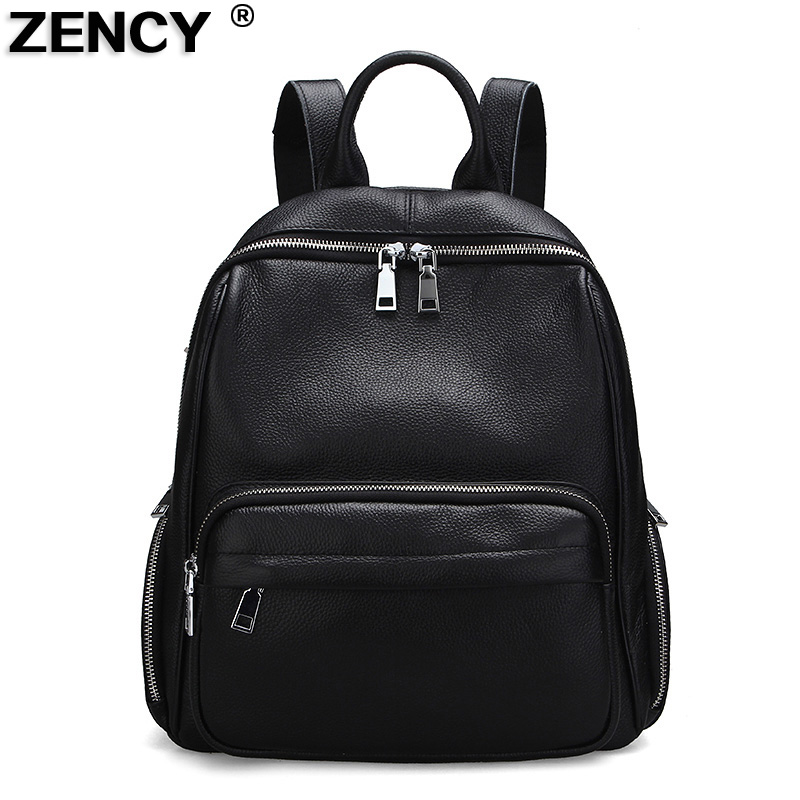2018 Fast Shipping 100% Genuine Leather Women Backpack Ladies' Female School First Layer Cow Leather Backpacks Cowhide ipad Bag zency genuine leather backpacks female girls women backpack top layer cowhide school bag gray black pink purple black color