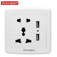 цена на Bcsongben  Standard 2.1A USB Wall pop plug Socket Home Wall Charger 2 Ports USB Outlet Power Charger For Phone White uk socket