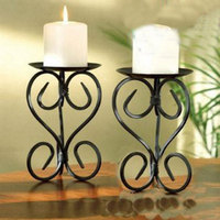 2pcs Pack European Style Metal Candle Holder Shelf Classic Design Metal Candlesticks Flat Iron Home Accent