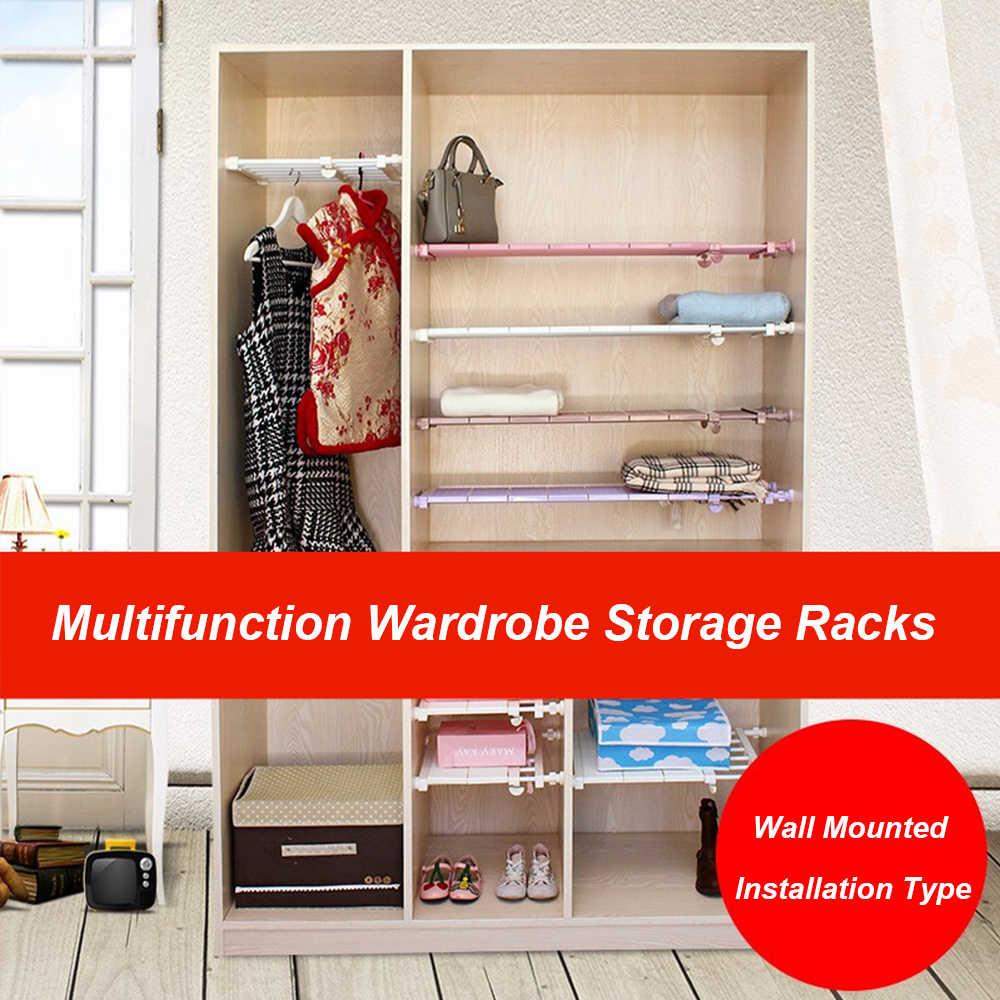 Adjule Closet Organizer Diy Wardrobe E Saving Rack Shoe Racks Wall Mounted Kitchen Storage
