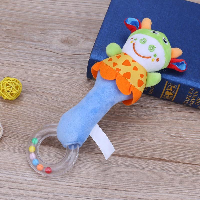 Cartoon Baby Rattle Toy Tinkle Hand Bell Stick Stroller Hanging Toys Funny Toys Calf/Cat/Lion/Elephant