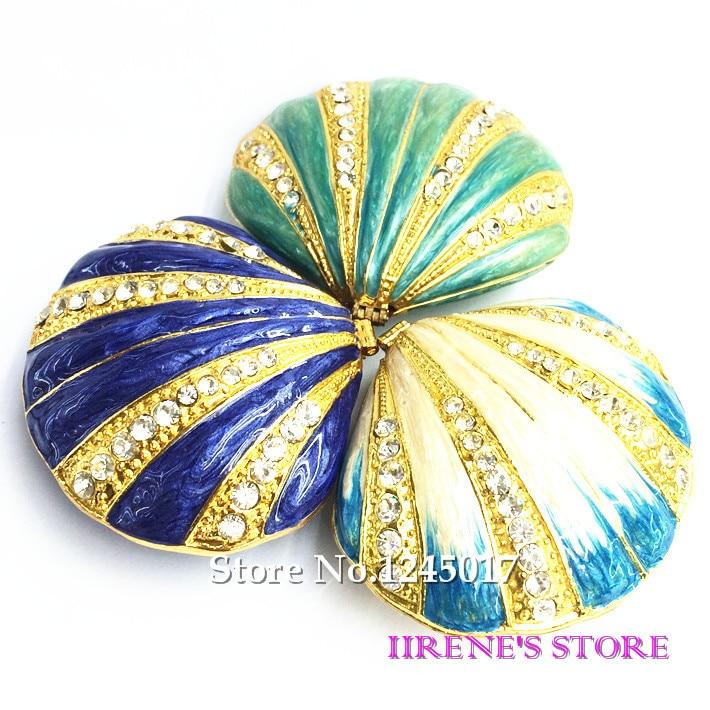 Free Shipping Enamel Seashell Shape Trinket Box Rhinestone Jewelry