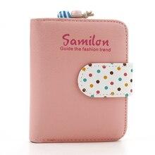 542eea36ae94d 2019 moda portfel dla dziewczyn kobiet portfel cukierkowe kolory torebka  kropki skórzany zamek portfel wielu posiadacz