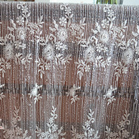 135cm 1yard French Beaded Lace Fabric For Wedding Dress Sequins White Lace Embroidered Applique DIY Party
