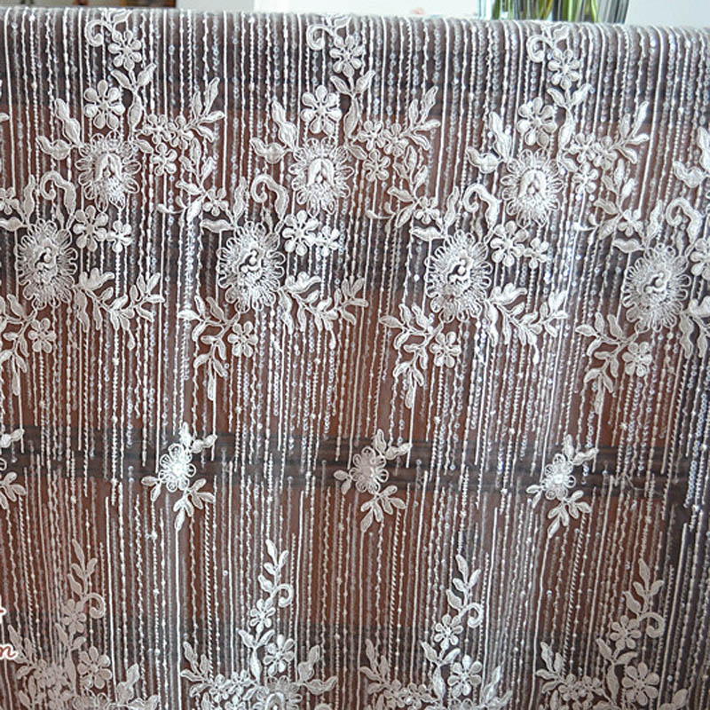 Buy 135cm 1yard french beaded lace fabric for Wedding dress fabric store