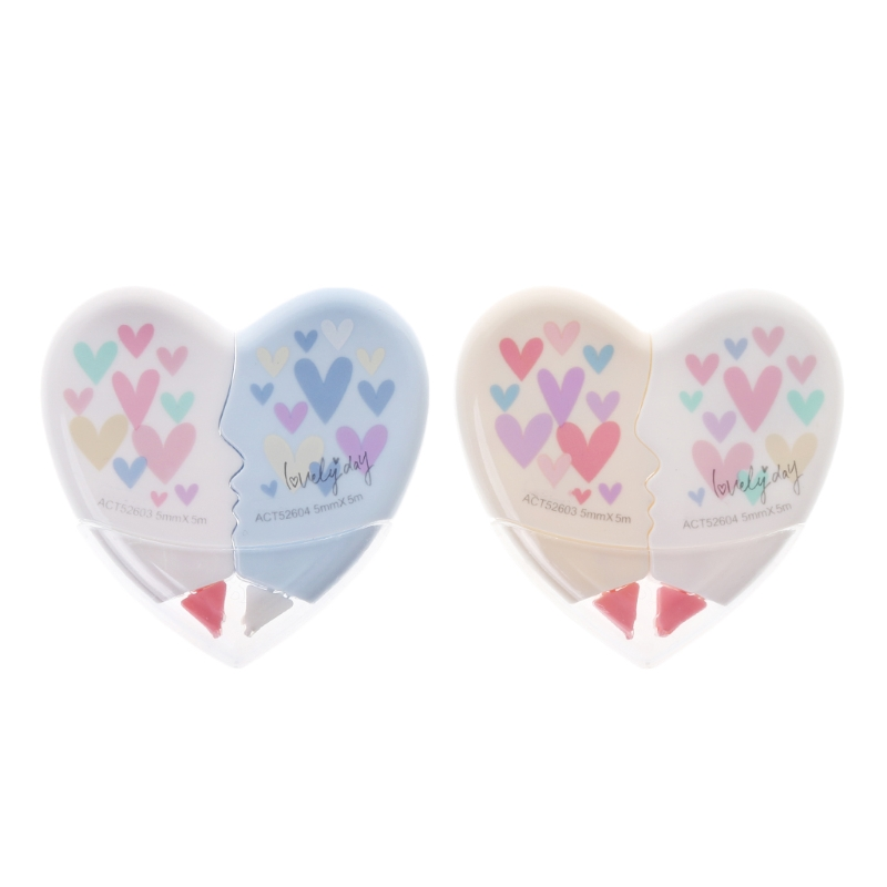 1 Pc Correction Tape 10M Love Heart Correction Tape Kawaii Student Stationery Office School Supplies 2.56 Inchx2.56 Inch