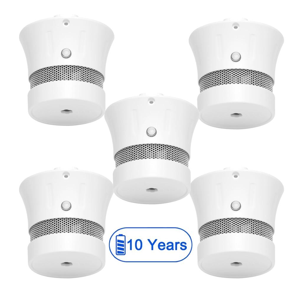 CPVan 5pcs/Lot mini smoke detector 10 years battery life 85dB Fire Smoke Photoelectric Sensor Detector Monitor Home Security