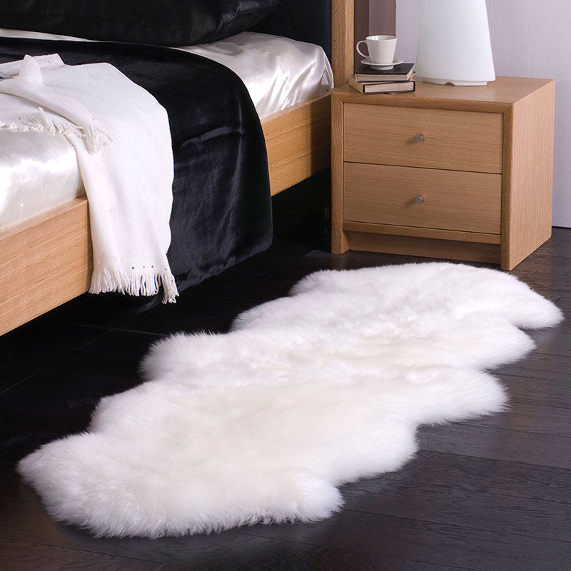 Luxury IVORY 100% natural real authentic handmade sheepskin Carpet Rug Modern contemporary wool mat design Nordic style bedsideLuxury IVORY 100% natural real authentic handmade sheepskin Carpet Rug Modern contemporary wool mat design Nordic style bedside