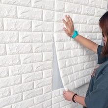 DIY 3D Brick Wall Stickers Self Adhensive Living Room Foam Safty Covering Wallpaper TV Background Kids 70*77cm 8pcs