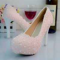 White Pink Lace Pearls Women Wedding Shoes Custom Heels Slip ON Plarform Bridal Shoes Spring Autumn