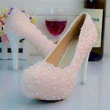 White/Pink/Red Lace Pearls Women Wedding Shoes High Heels Slip ON Platform Bridal Shoes Prom Party Pumps Big Size Eu34-43