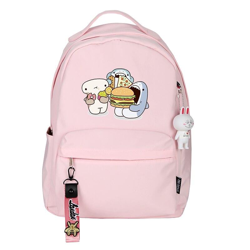 Women Cute Small Backpack Shark Eat Hamburg Cartoon School Bags Kawaii Dessert Travel Bagpack Pink Back Pack Cartoon BookbagBackpacks   -