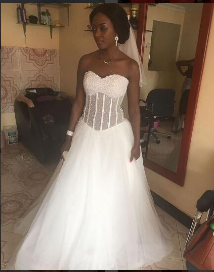 Black Girl Wedding Dress Sweetheart White Pearls Puffy Bridal Dress