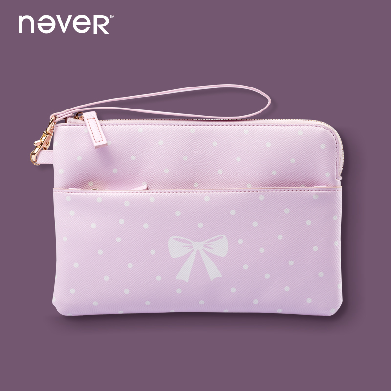 Never Zipper Pencil Bag Pink Kawaii Leather Cosmetic Makeup Bag Pencil Pouch Office Accessories School Supplies Stationery Store kawaii pink sweet girl pencil case school large capacity pencil bag leather for girls pen box stationery supplies accessories