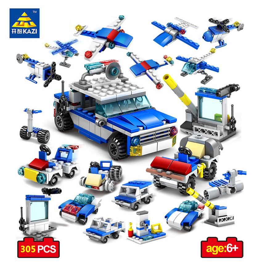 цена на KAZI 16 in 1 Police Station Helicopter Building Blocks Compatible Legoe City DIY Construction Bricks Toys For Children Christmas
