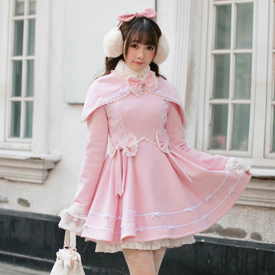 Princess sweet lolita coat Candy rain winter Japanese sweet slim wool coat long sleeved cloak coat Lovely girl wind C22CD7250